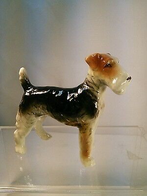 vtg 40-50's Pottery Art Wire haired Fox Terrier Airedale Dog Puppy Figurine