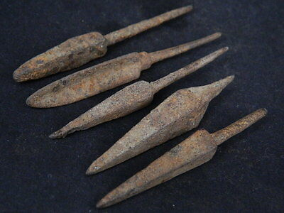 Ancient Iron 5 Arrow Heads Bactrian 300 BC  #GL1623