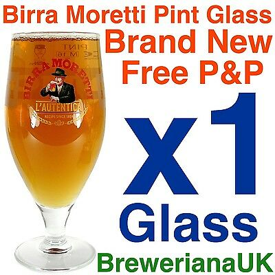 Single Birra Moretti Pint Glass 20oz Brand New 100% Genuine Official CE Marked