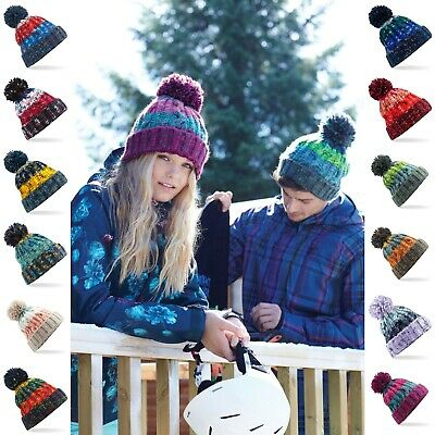 Cable Knit Beanie Chunky Winter Warm Woolly Bobble Ski Hat Mens Womens Ladies