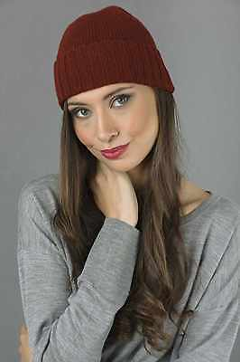 b12ac58f414 Beanie Hat 100% Pure Cashmere Plain and Ribbed Knitted Bordeaux MADE IN  ITALY