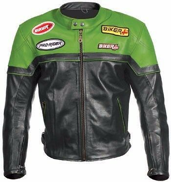 Green/black Men Leather Jacket Motorcycle Racing Jacket Motorbike Leather Jacket