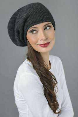 b7c8a3dafab Slouchy Beanie Hat 100% Pure Cashmere Ribbed Knitted Charcoal Grey MADE IN  ITALY