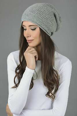 cf60312b8e4dd Slouchy Beanie Hat 100% Pure Cashmere Ribbed Knitted Light gray MADE IN  ITALY