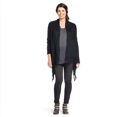Liz Lange Maternity Layering Fringed Cardigan Sweater Black Small Medium New