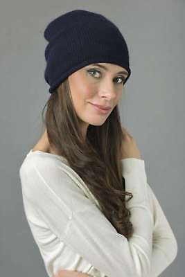 5a0b04561e0 BLUE NAVY PURE cashmere fur pom pom cable knit beanie hat MADE IN ...