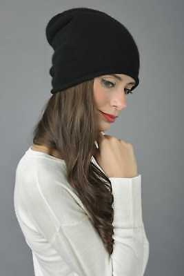 Slouchy Beanie Hat 100% Pure Cashmere Plain Knitted black MADE IN ITALY