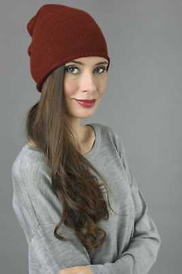 23cf37b4648 Slouchy Beanie Hat 100% Pure Cashmere Plain Knitted Bordeaux MADE IN ITALY