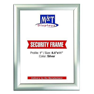 """8.5"""" X 11"""" Security Snap Frame, 1"""" Profile, Mitered Corners - Silver"""