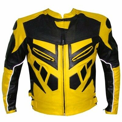 Yellow/black Leather Jacket Motorbike/motorcycle Leather Jacket Men Biker Jacket