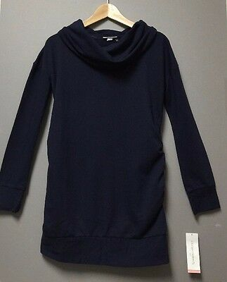 Liz Lange Maternity Long Sleeve Top  Howl Tunic Sweater Navy Blue XS
