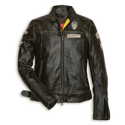 NEW DUCATI Historical 13 W-Fit Leather Jacket SIZE M WOMENS Brown