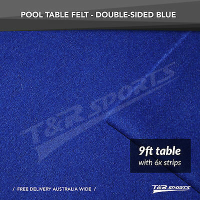 Blue Double-sided Wool Pool Snooker Table Cloth + 6x Felt Strips for 9""