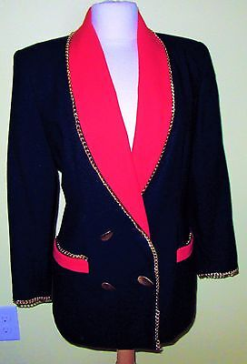 "Vtg 80's Lillie Rubin Black ""smoking Jacket"" W/red Trim/gold Chain Accents-12"