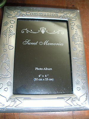 My First Communion Photo Album Gift Pewter Glass Photo Frame Front