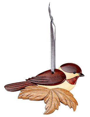 INTARSIA WOOD CHICKADEE ORNAMENT,handcrafted wood mosaic, double sided w/ ribbon