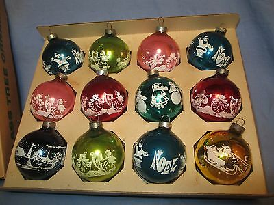 12 Matching,Vintage Stenciled Glass Ornaments /   SE 195