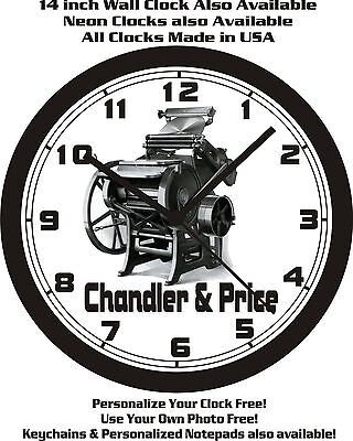Chandler & Price Letterpress Wall Clock-Free Usa Ship!