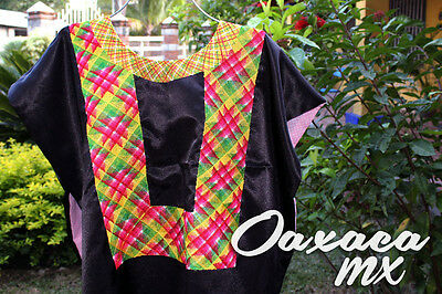 146 Womens Mexican Embroidered Black Huipil Oaxaca Boho Hippie Mayan Blouse