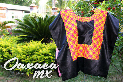 150 Womens Mexican Embroidered Black Huipil Oaxaca Boho Hippie Mayan Blouse