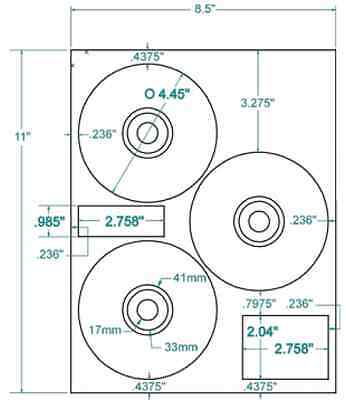 "Compulabel 312737 - White HP® CD/DVD 3-UP Layout Labels. 4.45"" Diameter"