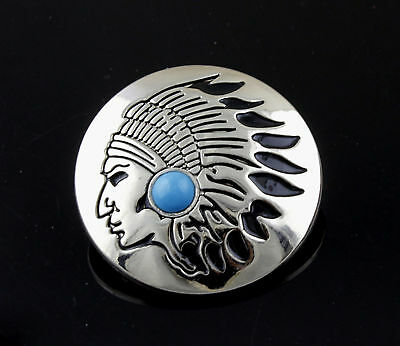 Turquoise Tribal Metal Round Concho Biker Vintage Decorative Button - Screw Back