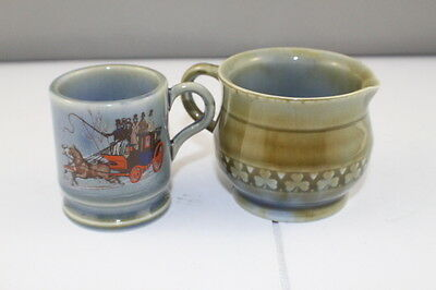 Vintage Wade Irish Porcelain Small Creamer and Small Cup with Stagecoach Graphic