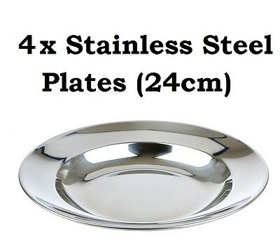 4x Camping Plates 24cm Stainless Steel Metal Camp Fire Picnic Dinner Plate Set