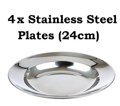 6x Camping Plates 24cm Stainless Steel Metal Camp Fire Picnic Dinner Plate Set