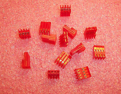 """Qty (13)  640620-4 Amp 4 Position R/a Mta-100 Idc Connectors 22Awg .100"""" Pitch"""