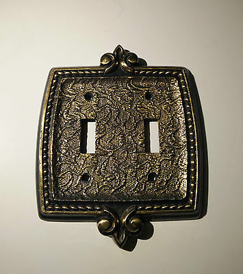 Edmar Decorative Double Light Switch Cover Brass Hollywood Regency Ornate Metal