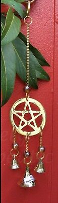 ~BRASS PENTAGRAM WIND CHIME~Hanging Decoration~Mobile~Feng Shui~Gothic~Wicca