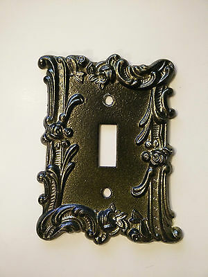 Vintage Edmar Light Switch Plate Floral Decorative Ornate Brass Metal Bronze