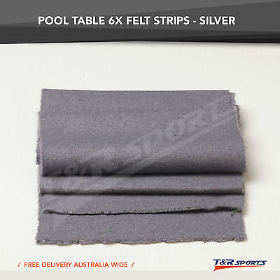 6x Silver Thick Double-sided Wool Pool Table Felt Strips for Cushion