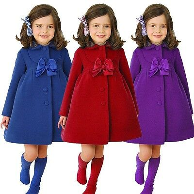 Kids Girls Winter Warm Clothes Fleece Outerwear Long Trench Wind Coat Jacket