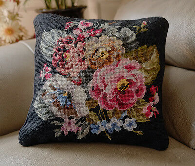 "16"" Traditional Shabby Handmade Pink Blue Flowers Black Needlepoint Pillow"