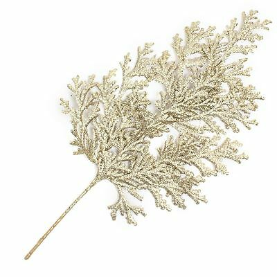 Champagne Glitter Cedar Spray  53 cm Floral Artificial Home Christmas Decoration