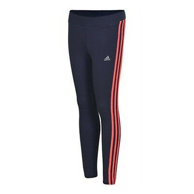 ADIDAS Girls Cotton Leggings Grey Colour Pink Three Side Stripes BNWT