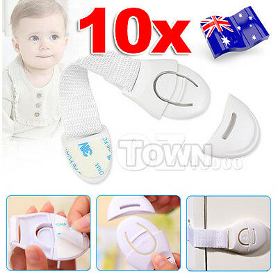 10pcs Adhesive Child Kids Baby Pet Proof Door Drawer Fridge Cupboard Safety Lock