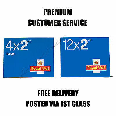 BRAND NEW 2nd Class Postage Stamps 4 LARGE and 12 STANDARD Second FREE DELIVERY