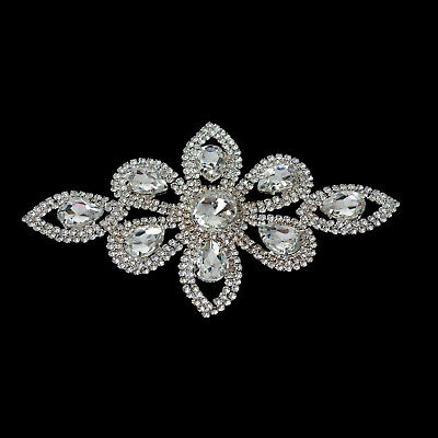 Diamante Motif Applique Rhinestone Sew on Wedding Silver Crystal Patch A01