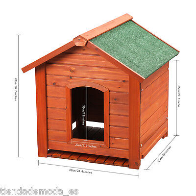 Extra/Large Rustic Solid Wood Dog House Kennel Kennels Pet House With Peak Roof