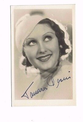 Tamara Desni German Actress Fire over England Hand Signed Vintage postcard 5x3