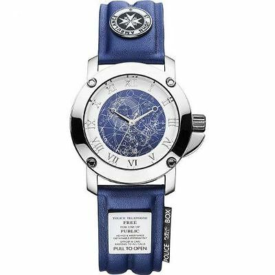 Dr Who Men's Quartz Watch with Blue Dial Analogue Display and Blue Leather Strap