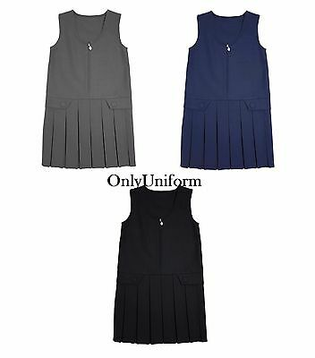 Girls Front Zip 2 Button Box Pleat Pinafore Uniform School Dress