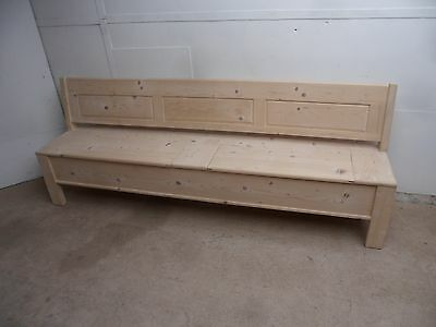 A Really Unusual Large 4-5 Seater 2 Lid Reclaimed Pine Box Settle/Bench