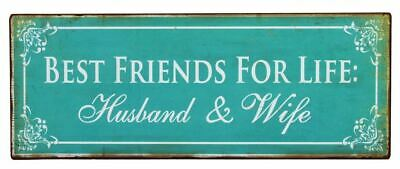 French Country Vintage Tin Sign HUSBAND and WIFE FRIENDS Plaque New