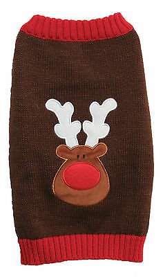 Rosewood Christmas Xmas Brown Reindeer Red Nose Sweater For Dogs Large 42cm