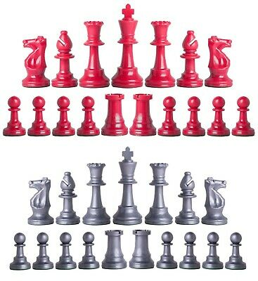 Staunton Triple Weighted Chess Pieces – Full Set 34 Red & Silver - 4 Queens