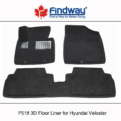 Black all Weather 3D Car Floor Mats /Floor Liners for 2012-2016 Hyundai Veloster